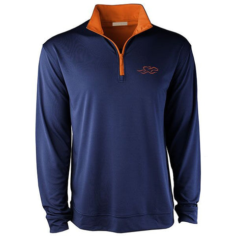 A navu colored performance stretch pullover with an orange colored contrast neck and zipper.  Orange EMBRACE THE RACE icon on the left chest to match.