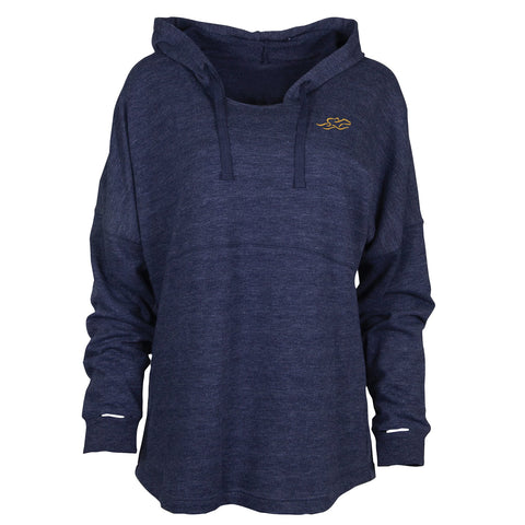 Navy relaxed fit hoodie with yellow EMBRACE THE RACE icon on the left chest.