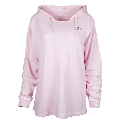 Light pink relaxed fit hoodie with navy blue EMBRACE THE RACE icon on the left chest.
