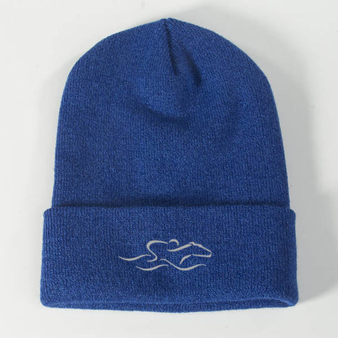 A cuffed knit beanie cap in royal. EMBRACE THE RACE icon center front and wordmark on the back.