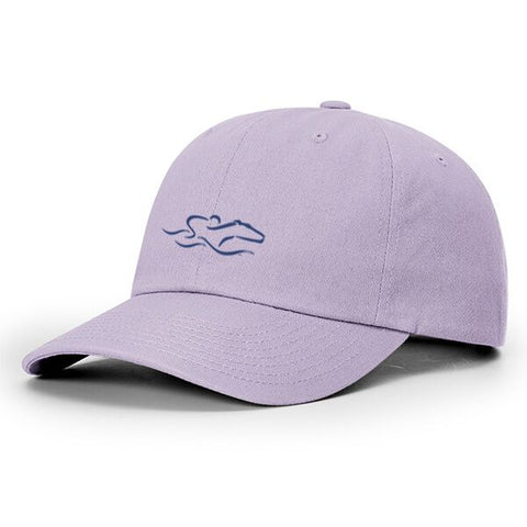 A lightweight cotton twill lavender hat with relaxed crown and adjustable. EMBRACE THE RACE icon center front and wordmark on the back.