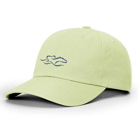 A lightweight cotton twill mint green hat with relaxed crown and adjustable. EMBRACE THE RACE icon center front and wordmark on the back.