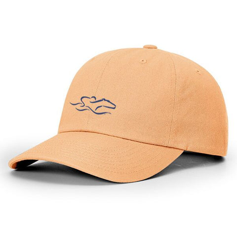 A lightweight cotton twill peach hat with relaxed crown and adjustable. EMBRACE THE RACE icon center front and wordmark on the back.
