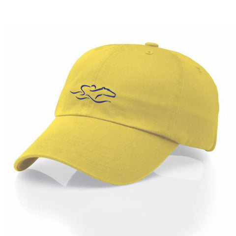 A garment washed cotton twill bright yellow hat with relaxed crown and adjustable buckle. EMBRACE THE RACE icon center front and wordmark on the back.