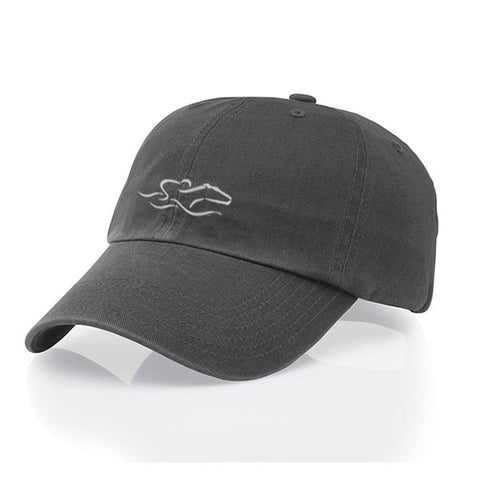 A garment washed cotton twill charcoal gray hat with relaxed crown and adjustable buckle. EMBRACE THE RACE icon center front and wordmark on the back.