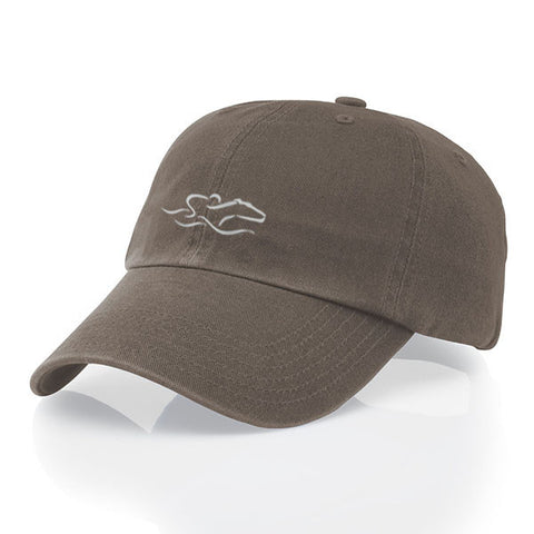 A garment washed cotton twill driftwood brown hat with relaxed crown and adjustable buckle. EMBRACE THE RACE icon center front and wordmark on the back.