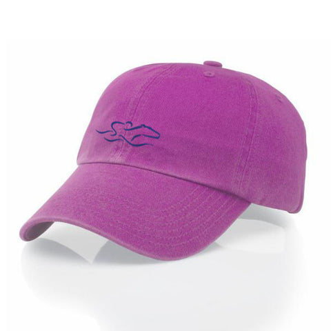 A garment washed cotton twill hot pink hat with relaxed crown and adjustable buckle. EMBRACE THE RACE icon center front and wordmark on the back.