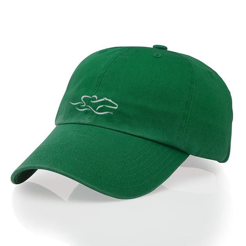 A garment washed cotton twill kelly green hat with relaxed crown and adjustable buckle. EMBRACE THE RACE icon center front and wordmark on the back.