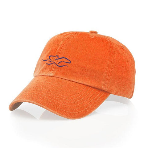 A garment washed cotton twill orange hat with relaxed crown and adjustable buckle. EMBRACE THE RACE icon center front and wordmark on the back.