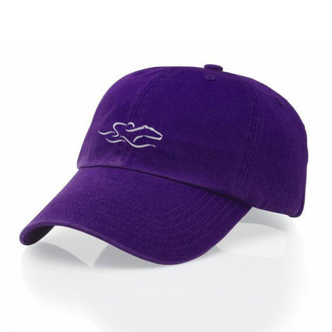 A garment washed cotton twill purple hat with relaxed crown and adjustable buckle. EMBRACE THE RACE icon center front and wordmark on the back.