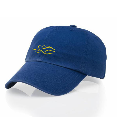 A garment washed cotton twill royal hat with relaxed crown and adjustable buckle. EMBRACE THE RACE icon center front and wordmark on the back.