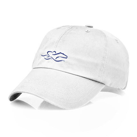 A garment washed cotton twill white hat with relaxed crown and adjustable buckle. EMBRACE THE RACE icon center front and wordmark on the back.