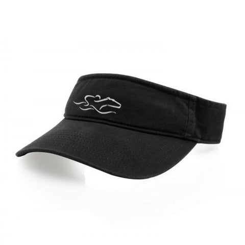 A classic black visor with an adjustable backstrap. EMBRACE THE RACE icon center front wordmark on the backstrap.