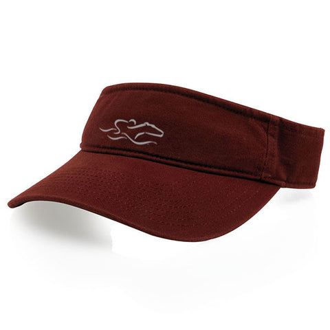 A classic cardinal visor with an adjustable backstrap. EMBRACE THE RACE icon center front wordmark on the backstrap.