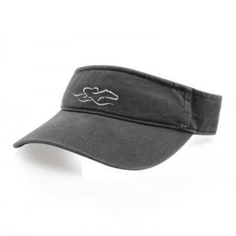 A classic charcoal visor with an adjustable backstrap. EMBRACE THE RACE icon center front wordmark on the backstrap.