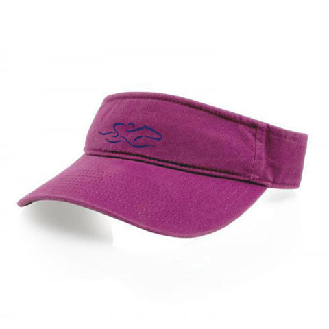 A classic hot pink visor with an adjustable backstrap. EMBRACE THE RACE icon center front wordmark on the backstrap.