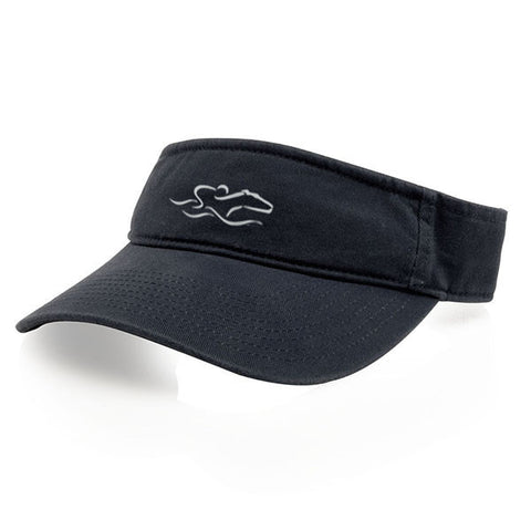 A classic navy visor with an adjustable backstrap. EMBRACE THE RACE icon center front wordmark on the backstrap.