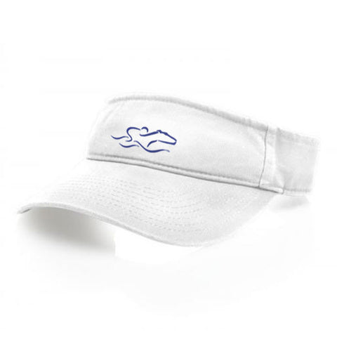 A classic white visor with an adjustable backstrap. EMBRACE THE RACE icon center front wordmark on the backstrap.