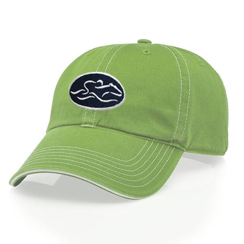 A relaxed fit patch style hat in lime green with white stitching. EMBRACE THE RACE icon center front in a patch style with white icon on a navy patch and wordmark on the back.