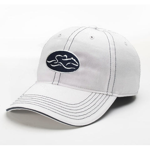 A relaxed fit patch style hat in white with navy stitching. EMBRACE THE RACE icon center front in a patch style with white icon on a navy patch and wordmark on the back.