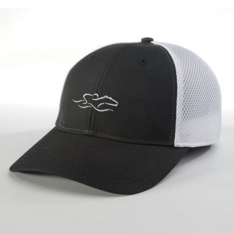 A lightweight performance airmesh hat with a casual structured brim in black and white. EMBRACE THE RACE icon center front and wordmark on the back.