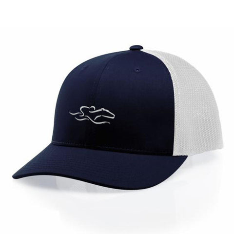 A navy mesh back low profile structured hat. EMBRACE THE RACE icon center front and wordmark inside a patch look on the back.