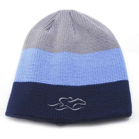 An uncuffed tri-color knit beanie in gray, columbia blue and navy. EMBRACE THE RACE icon center front and wordmark on the back