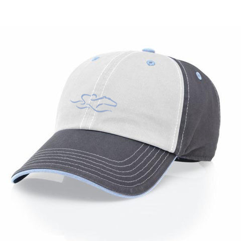A tri-color adjustable relaxed fit hat in gray, blue and white. EMBRACE THE RACE icon center front and wordmark on the back.