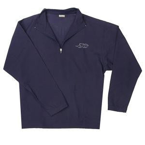 A navy all weather windshirt, half zip pullover in a quilted-like fabric.  EMBRACE THE RACE logo embroidered on the left chest