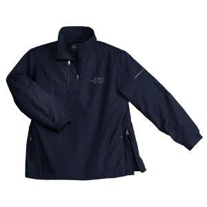 A navy polyester half zip wind jacket with EMBRACE THE RACE logo embroidered on left chest.