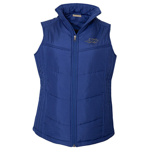navy puffy full zip vest with EMBRACE THE RACE logo embroidered on the left chest.
