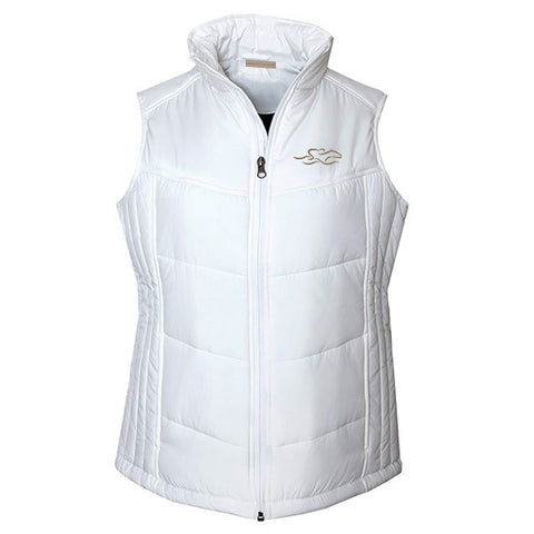 White puffy full zip vest with EMBRACE THE RACE logo embroidered on the left chest.