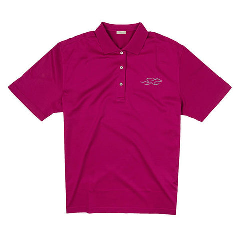 A fine combed cotton polo shirt in vibrant berry.  EMBRACE THE RACE logo embroidered on the left chest.