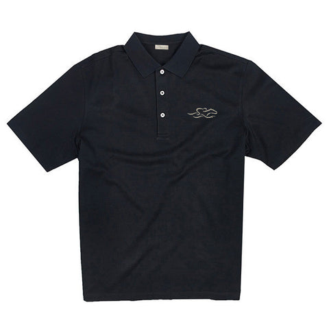 A fine combed cotton polo shirt in vibrant black.  EMBRACE THE RACE logo embroidered on the left chest.