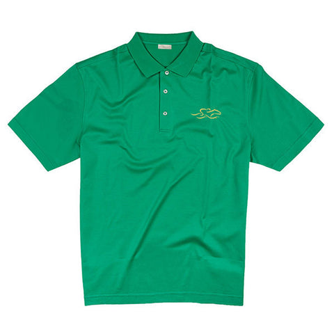 A fine combed cotton polo shirt in vibrant green.  EMBRACE THE RACE logo embroidered on the left chest.