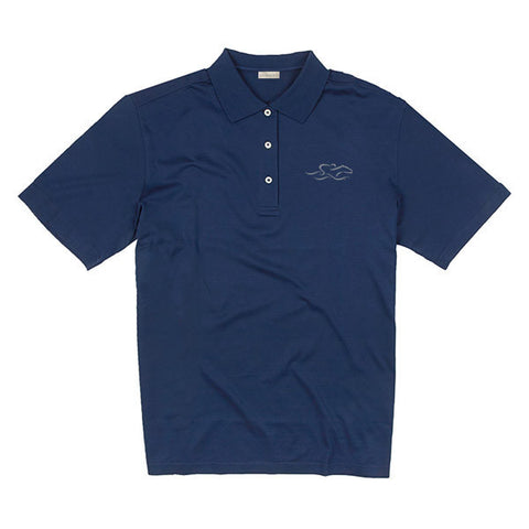 A fine combed cotton polo shirt in vibrant navy.  EMBRACE THE RACE logo embroidered on the left chest.