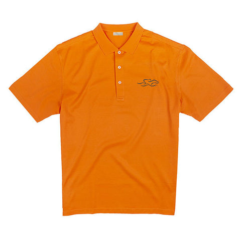 A fine combed cotton polo shirt in vibrant orange.  EMBRACE THE RACE logo embroidered on the left chest.