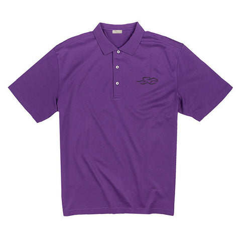 A fine combed cotton polo shirt in vibrant purple.  EMBRACE THE RACE logo embroidered on the left chest.