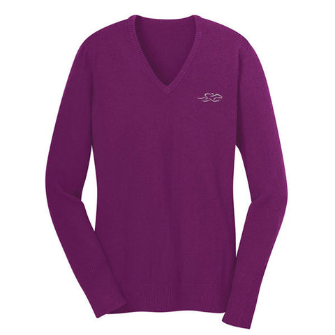 A fine gauge knit v neck sweater in berry.  EMBRACE THE RACE logo embroidered on left chest.