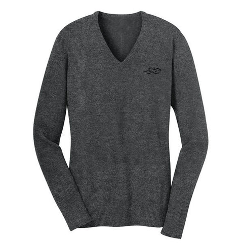 A fine gauge knit v neck sweater in gray.  EMBRACE THE RACE logo embroidered on left chest.