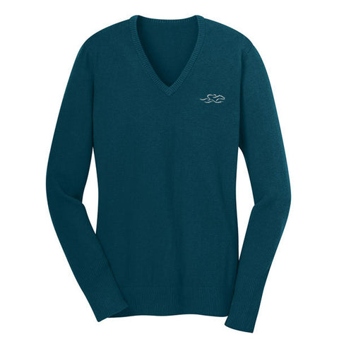 A fine gauge knit v neck sweater in turquoise.  EMBRACE THE RACE logo embroidered on left chest.