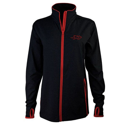 Black full zip fitted jacket with contrasting red zipper and trim.  Beautifully decorated with a matching EMBRACE THE RACE icon embroidered on the left chest.  Thumbholes for the perfect sporty look!