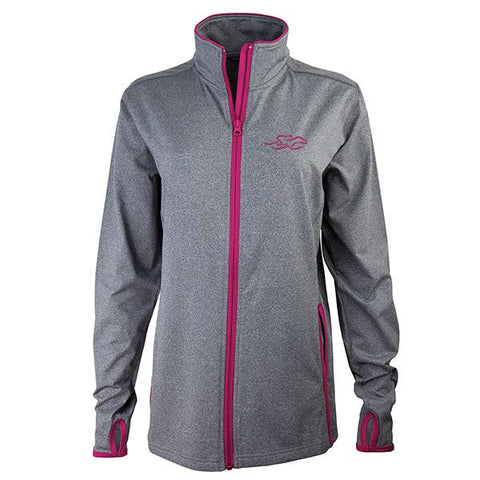Gray full zip fitted jacket with contrasting berry zipper and trim.  Beautifully decorated with a matching EMBRACE THE RACE icon embroidered on the left chest.  Thumbholes for the perfect sporty look!