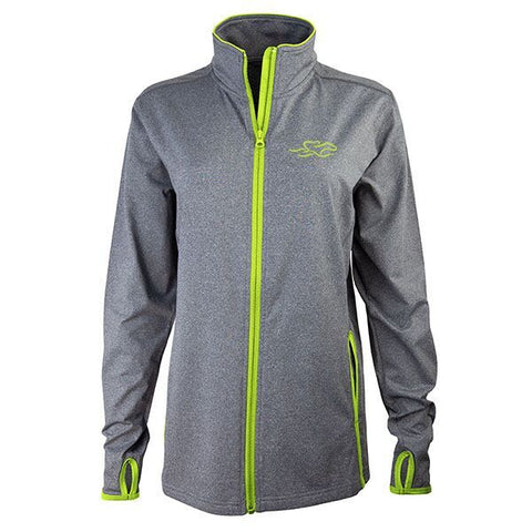 Gray full zip fitted jacket with contrasting lime green zipper and trim.  Beautifully decorated with a matching EMBRACE THE RACE icon embroidered on the left chest.  Thumbholes for the perfect sporty look!