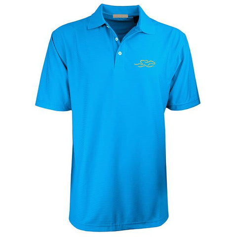 Four Season Textured Stripe Polo - Cerulean