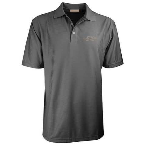 Four Season Textured Stripe Polo - Charcoal