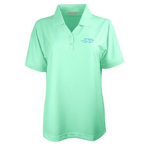 Four Season Textured Stripe V-Neck Polo - Mint