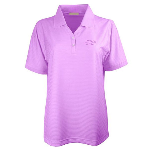 Four Season Textured Stripe V-Neck Polo - Purple