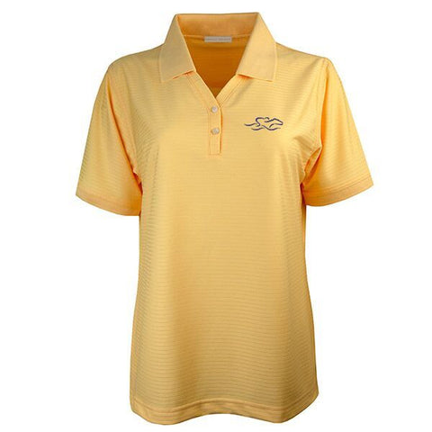 Four Season Textured Stripe V-Neck Polo - Yellow