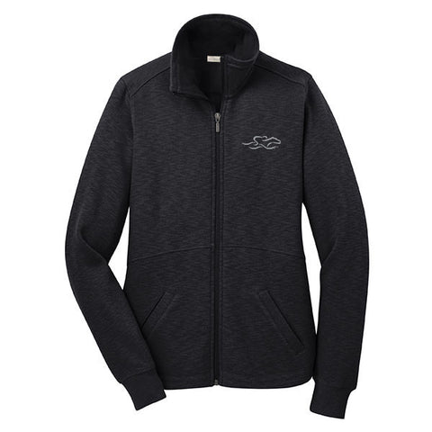 A full zip sophisticated fleece jacket in black. EMBRACE THE RACE logo embroidered on left chest.